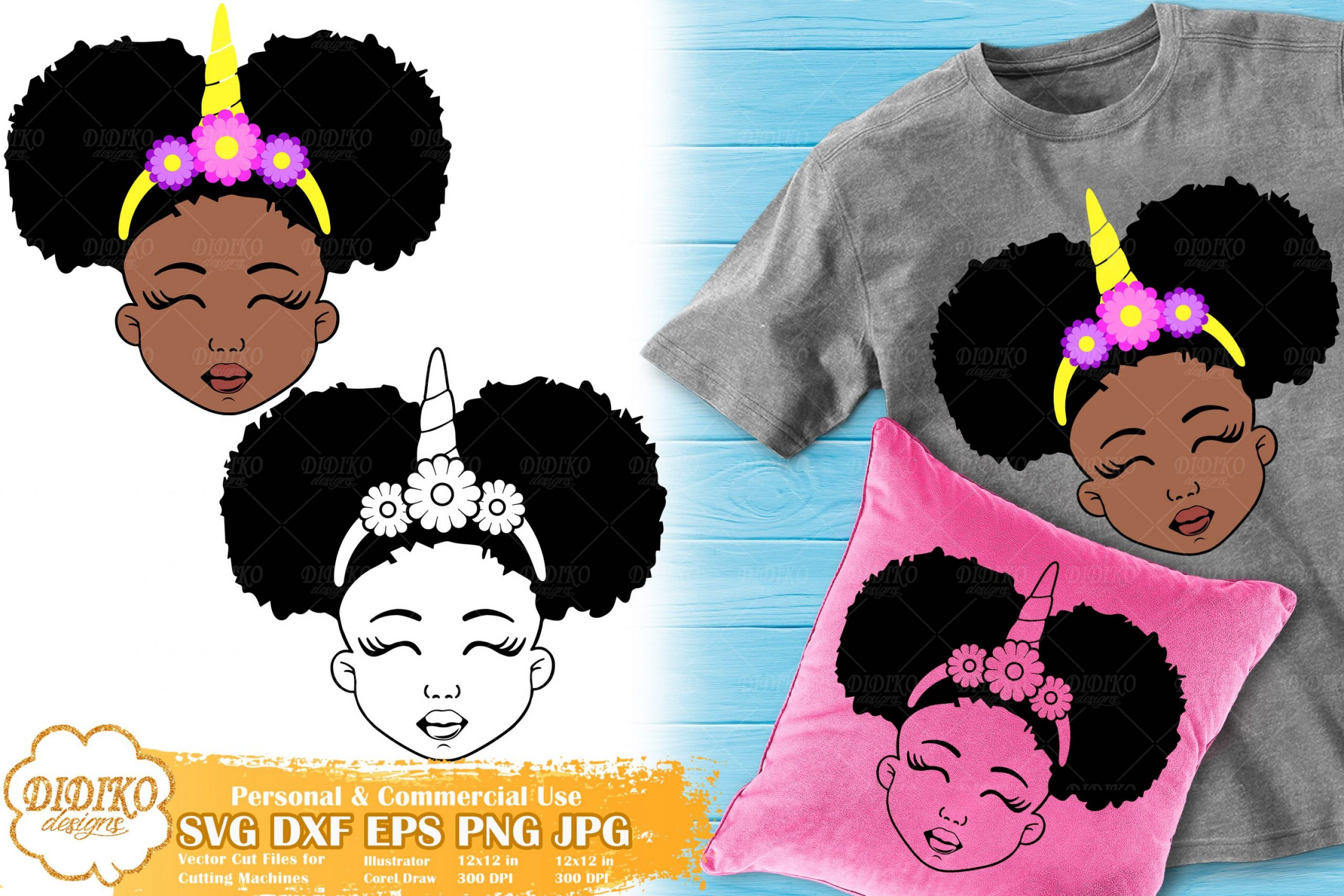 Black Girl Unicorn SVG #1 | Afro Unicorn Silhouette Svg