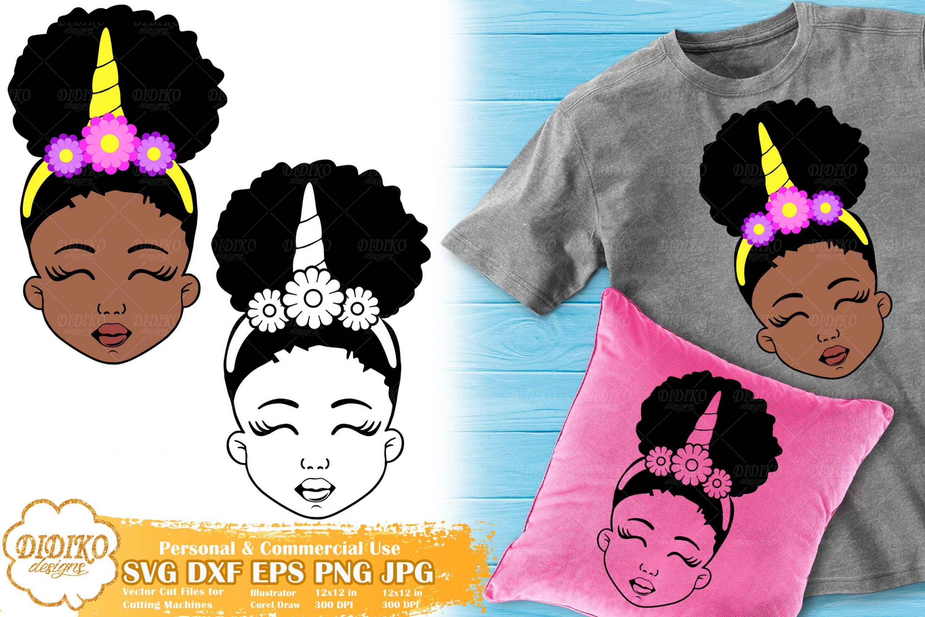 Black Girl Unicorn SVG #2 | Afro Unicorn Silhouette Svg