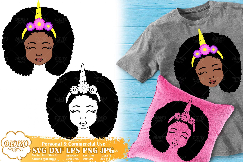 Black Girl Unicorn SVG #3 | Afro Unicorn Silhouette Svg