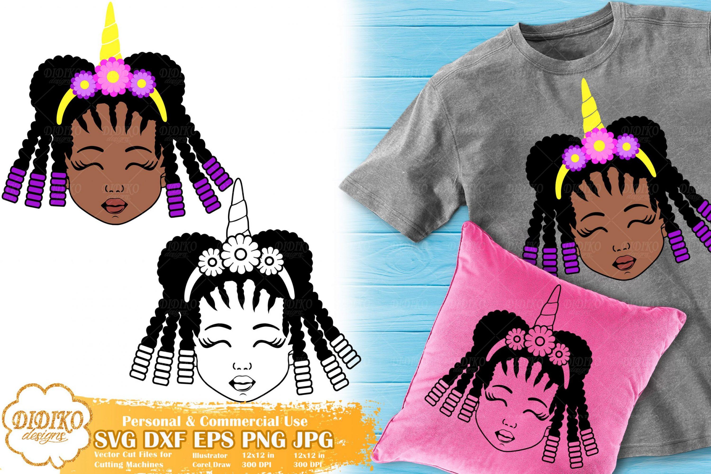 Black Girl Unicorn SVG #4 | Afro Unicorn Silhouette Svg