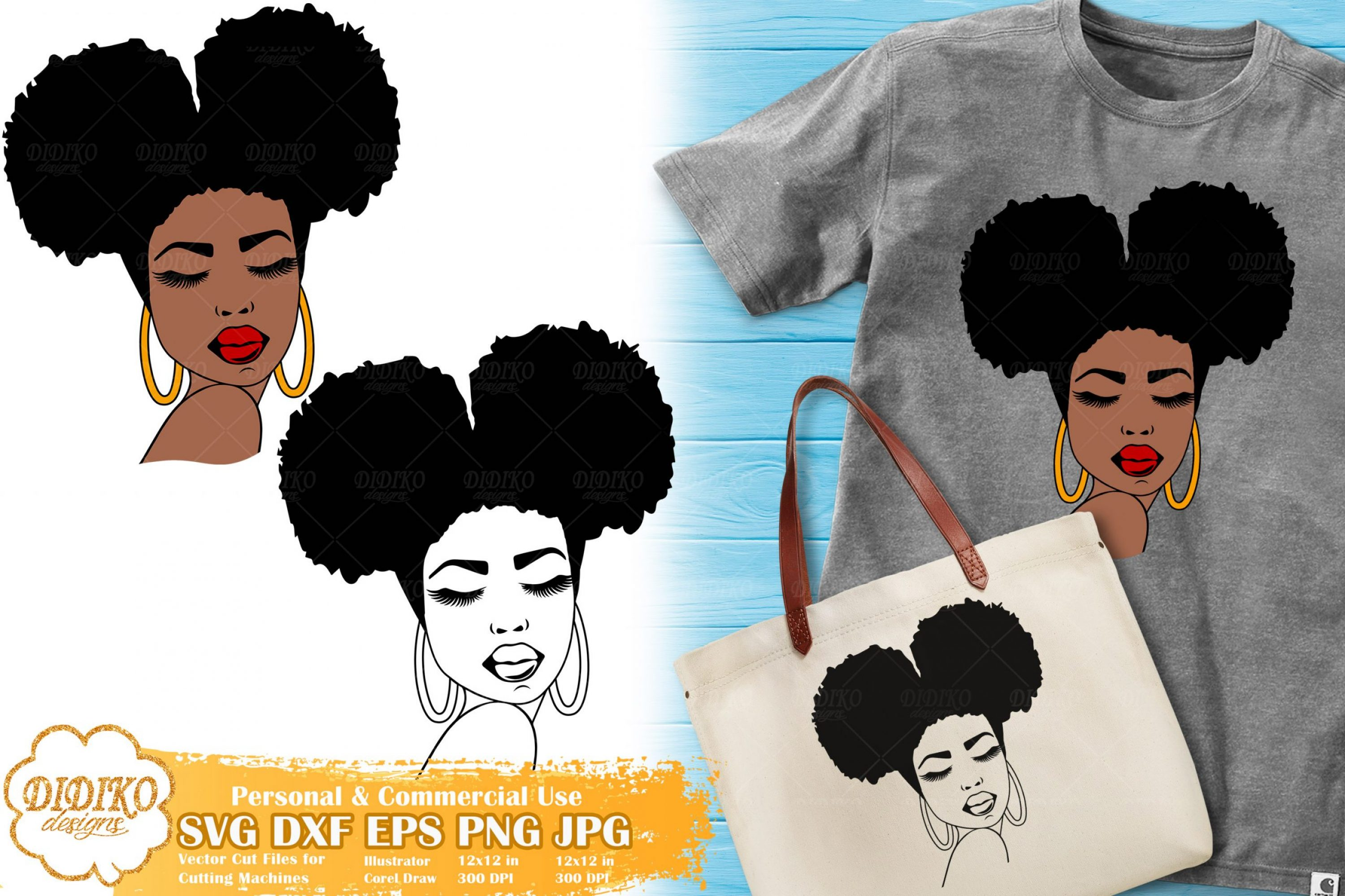 Black Woman SVG #3, Afro Woman SVG, Cricut File