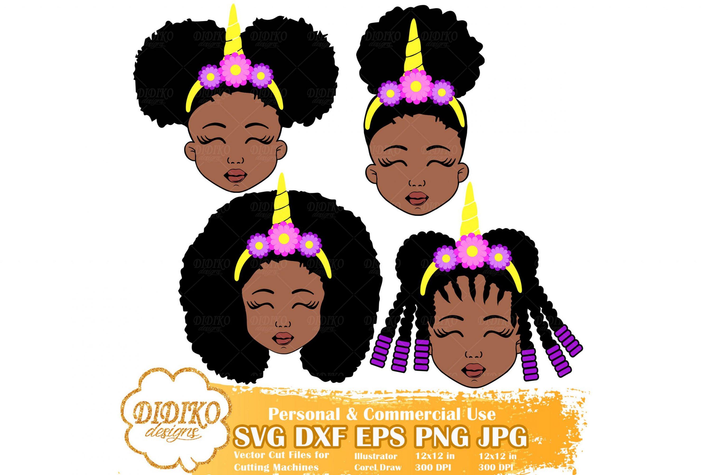 Black Girl Bundle SVG #5, Afro Unicorn SVG, Cricut File