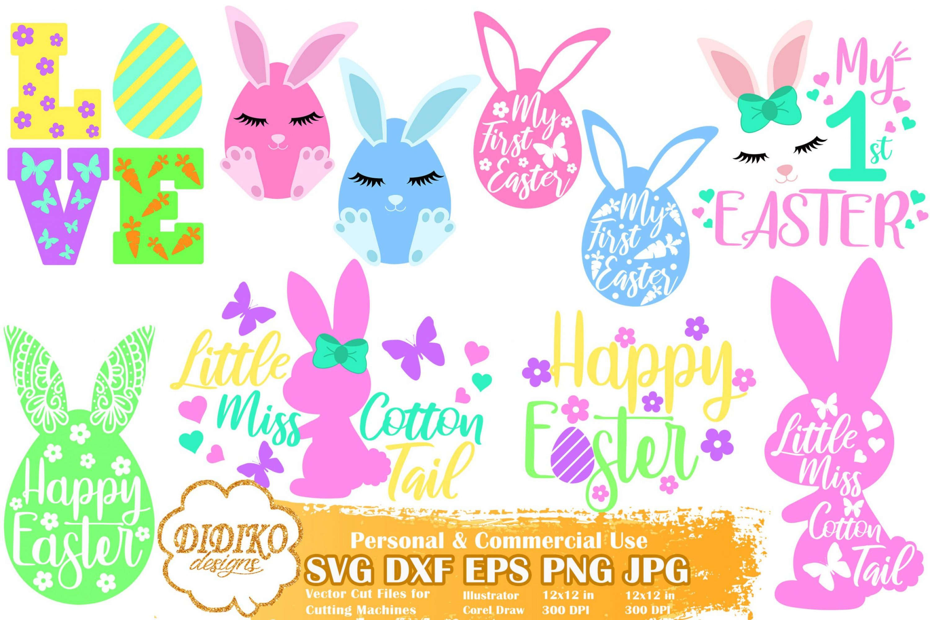 Easter Bundle SVG, Easter Bunny SVG File for Cricut