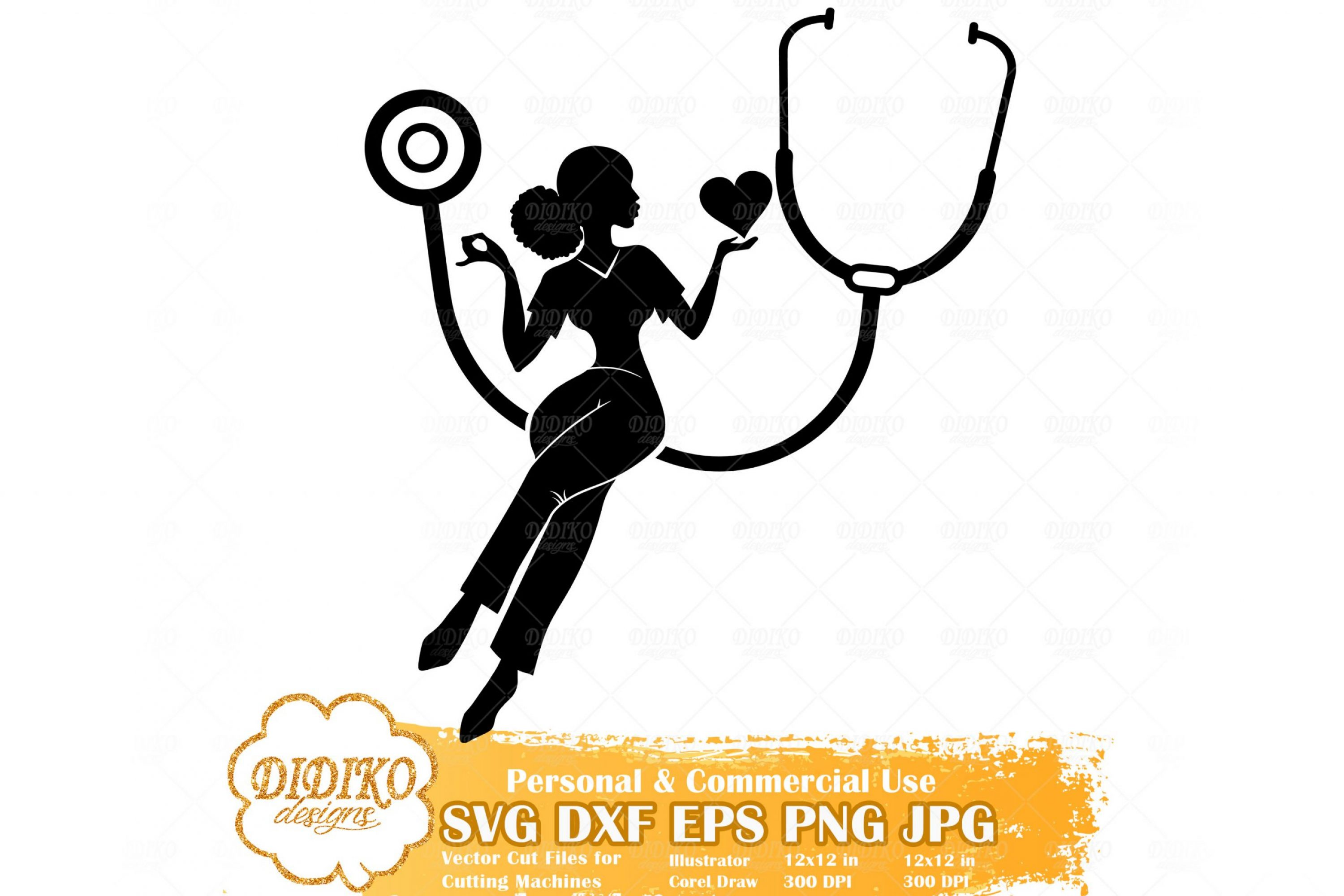 Black Nurse SVG #2, Afro Woman Nurse Svg, Cricut File