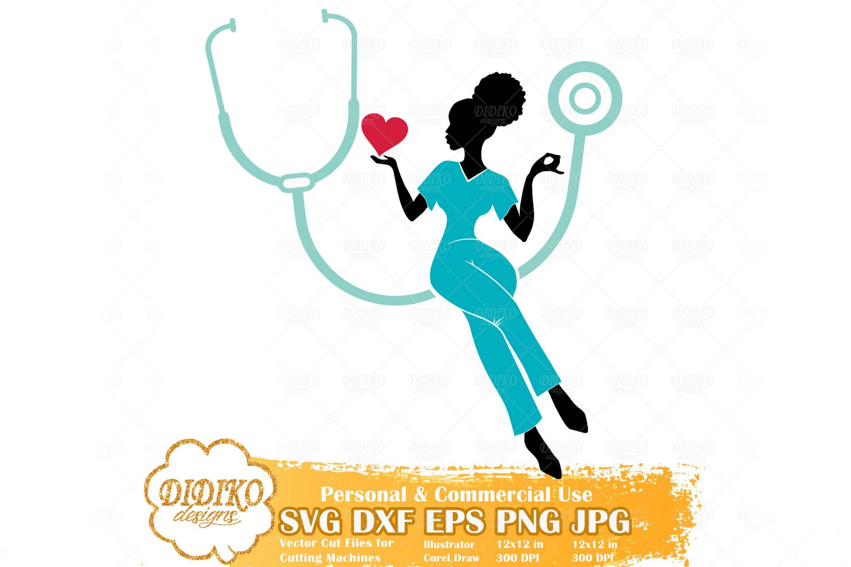 Black Nurse SVG #3, Afro Woman Nurse Svg, Cricut File