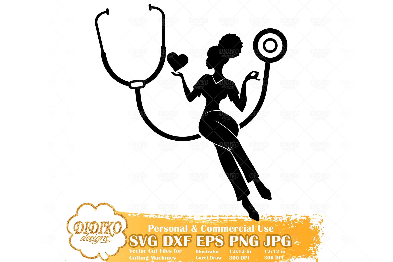 Black Nurse SVG #1, Afro Woman Nurse Svg, Cricut File