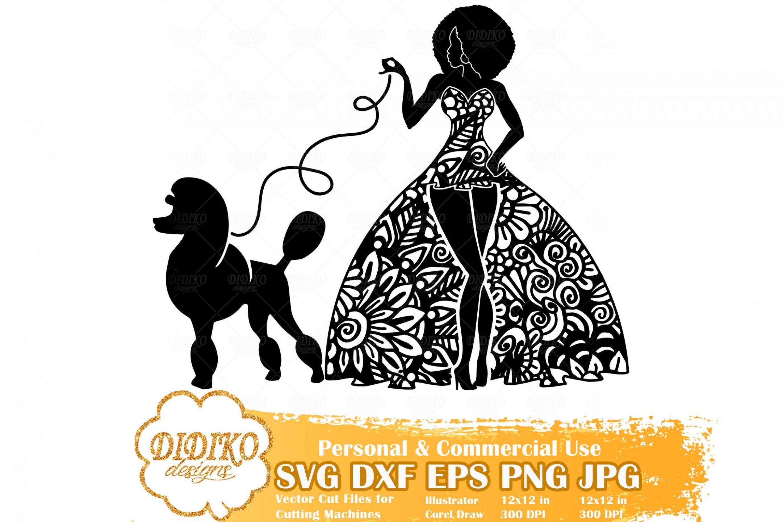Black Woman Fashion SVG #7, Zentangle Woman SVG, Black Woman in Dress SVG, Woman with Poodle Svg, Cricut File