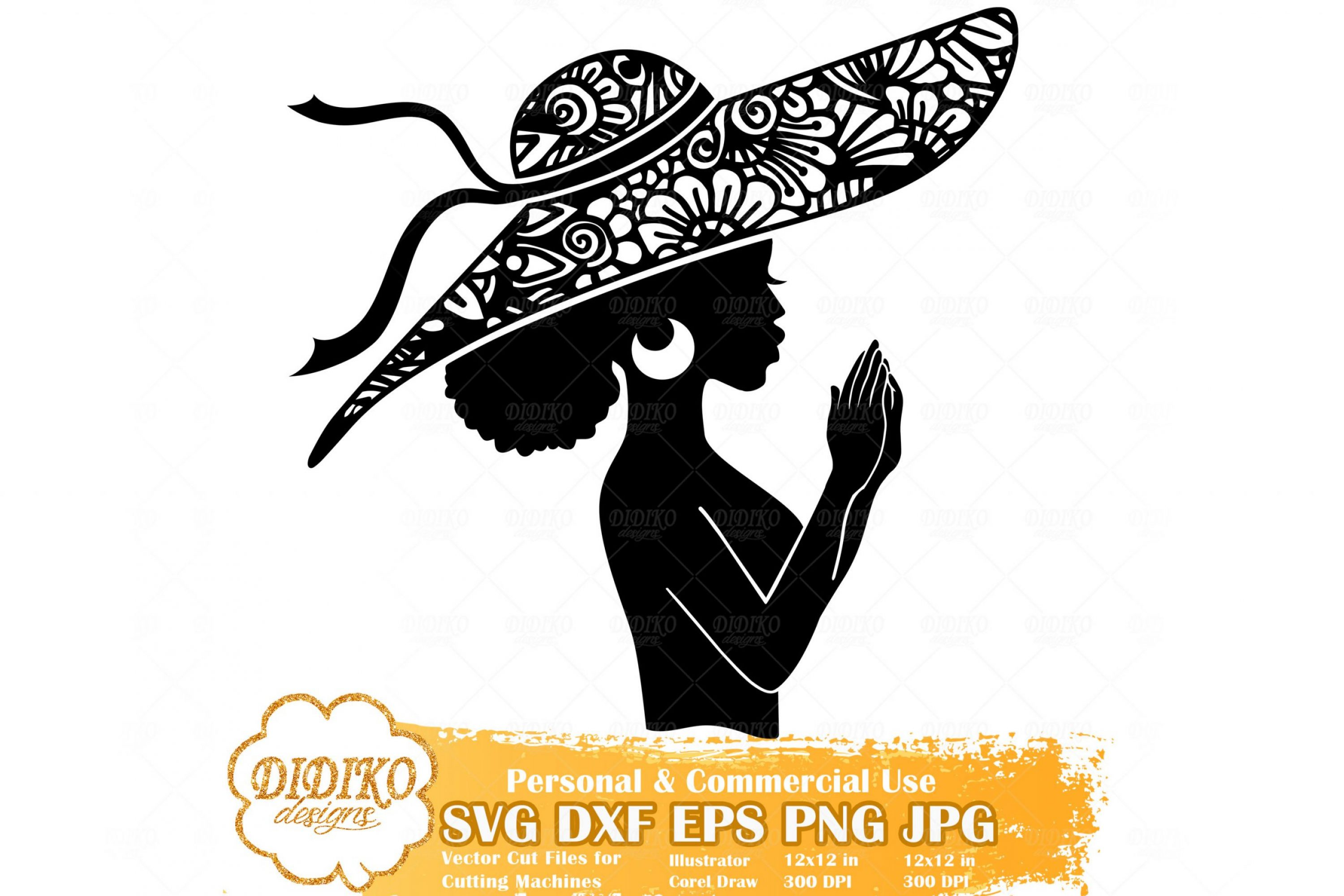 Praying Black Woman SVG #6, Zentangle Woman SVG