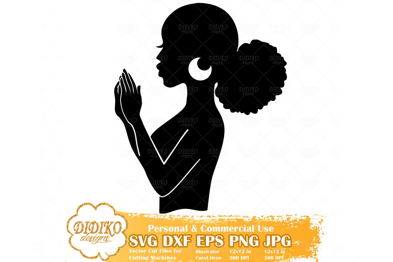 Praying Black Woman SVG #1, Afro Woman Cricut File