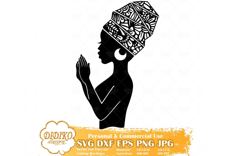 Praying Black Woman SVG #5, Zentangle Woman SVG