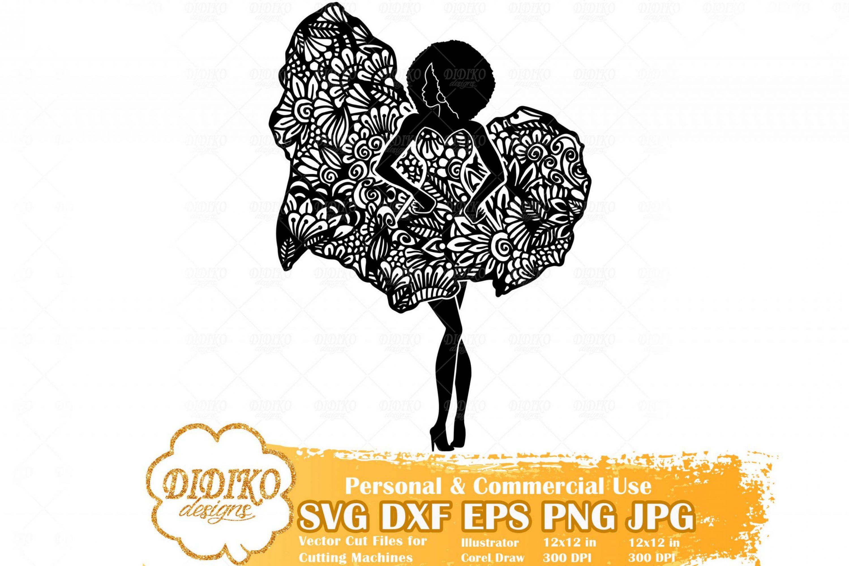 Black Woman Fashion SVG #6, Zentangle Woman SVG, Black Woman in Dress SVG, Africa Svg, Cricut File