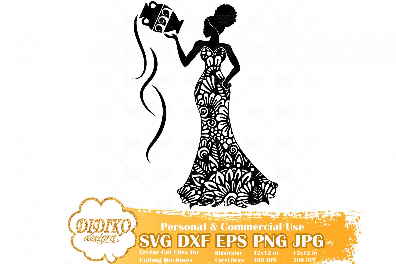 Black Woman Aquarius SVG, Zentangle Woman SVG, Black Woman in Dress SVG, Fashion Afro Woman Svg, Cricut File