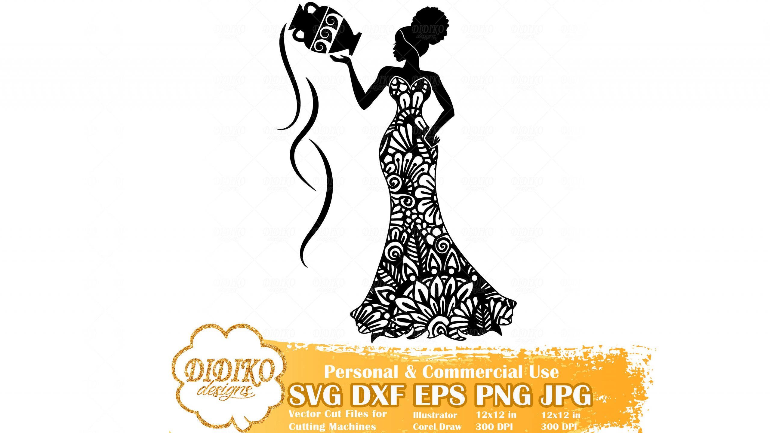 Black Woman Aquarius SVG