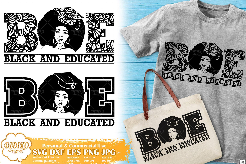 Black and Educated Woman SVG | Mandala SVG | Zentangle SVG