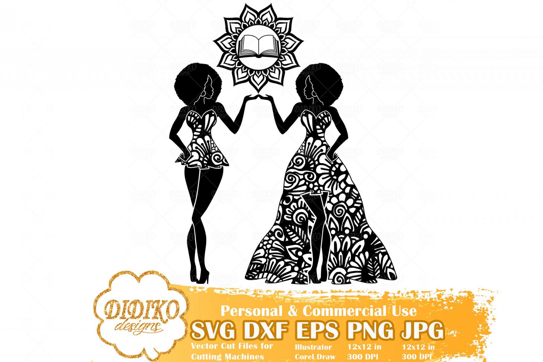 Black Woman Gemini SVG, Zentangle Woman SVG, Black Woman in Dress SVG, Fashion Afro Woman Svg, Cricut File