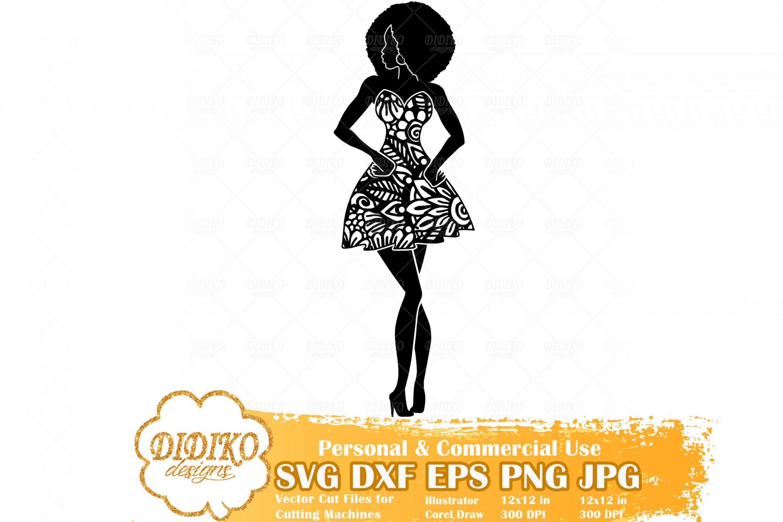 Black Woman Fashion SVG #1, Zentangle Woman SVG, Black Woman in Dress SVG, Afro Woman Mandala Svg, Cricut File