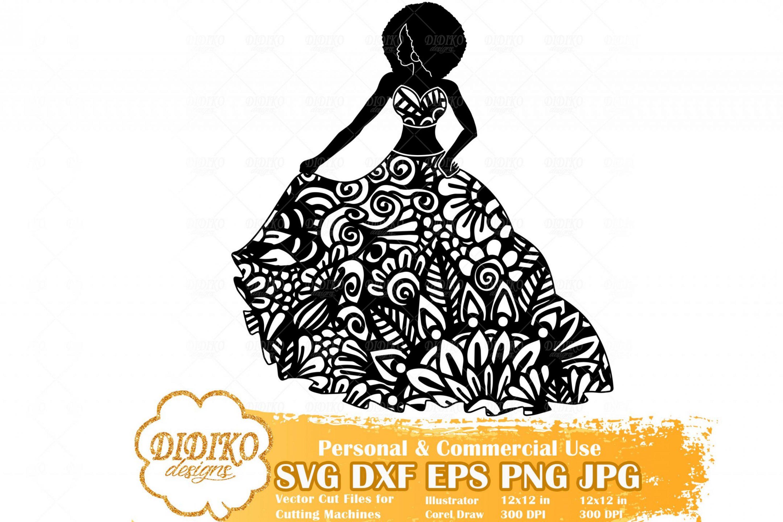 Black Woman Fashion SVG #3, Zentangle Woman SVG, Black Woman in Dress SVG, Afro Woman Mandala Svg, Cricut File