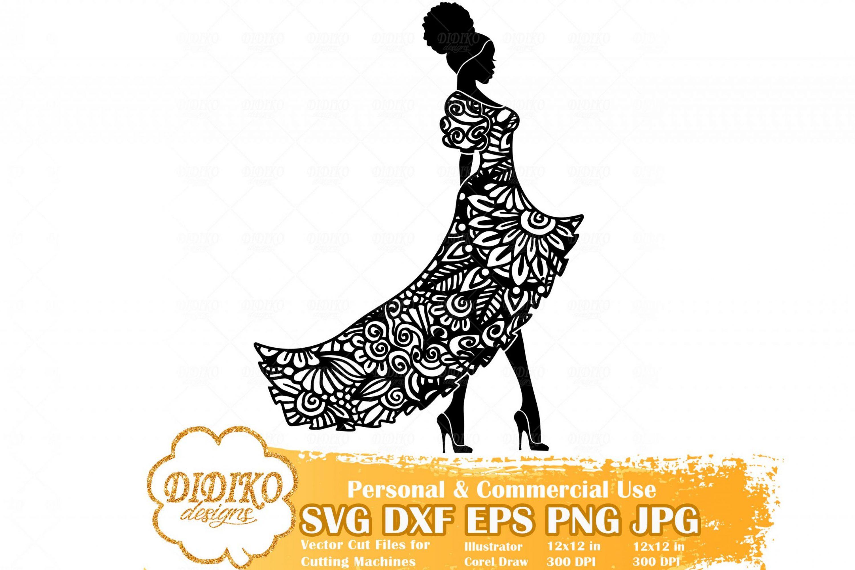 Black Woman Fashion SVG #4, Zentangle Woman SVG, Black Woman in Dress SVG, Afro Woman Mandala Svg, Cricut File