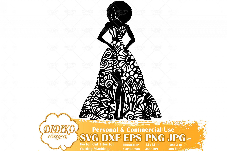 Black Woman Fashion SVG #2, Zentangle Woman SVG, Black Woman in Dress SVG, Afro Woman Mandala Svg, Cricut File