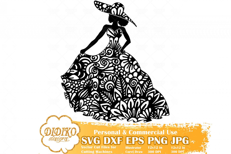 Black Woman Fashion SVG #5, Zentangle Woman SVG, Black Woman in Dress SVG, Afro Woman Mandala Svg, Cricut File
