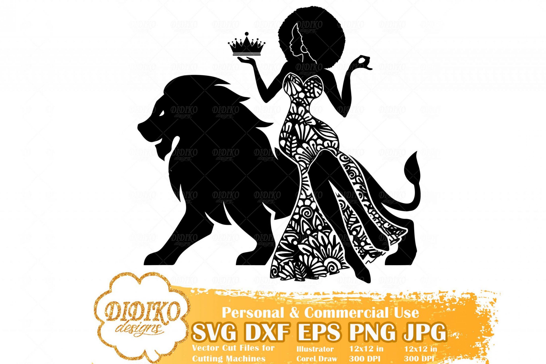 Black Woman Leo SVG, Zentangle Woman SVG, Black Woman in Dress SVG, Fashion Afro Woman Svg, Cricut File