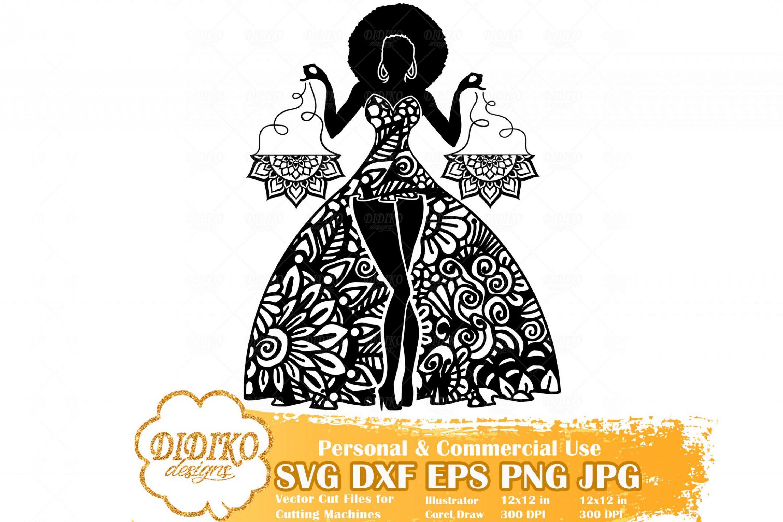 Black Woman Libra SVG, Zentangle Woman SVG, Black Woman in Dress SVG, Fashion Afro Woman Svg, Cricut File