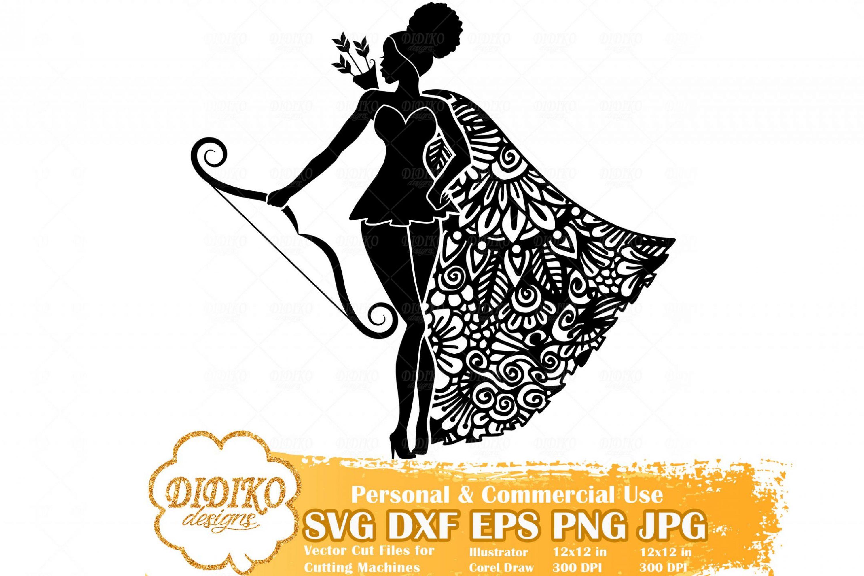 Black Woman Sagittarius SVG, Zentangle Woman SVG, Black Woman in Dress SVG, Fashion Afro Woman Svg, Cricut File