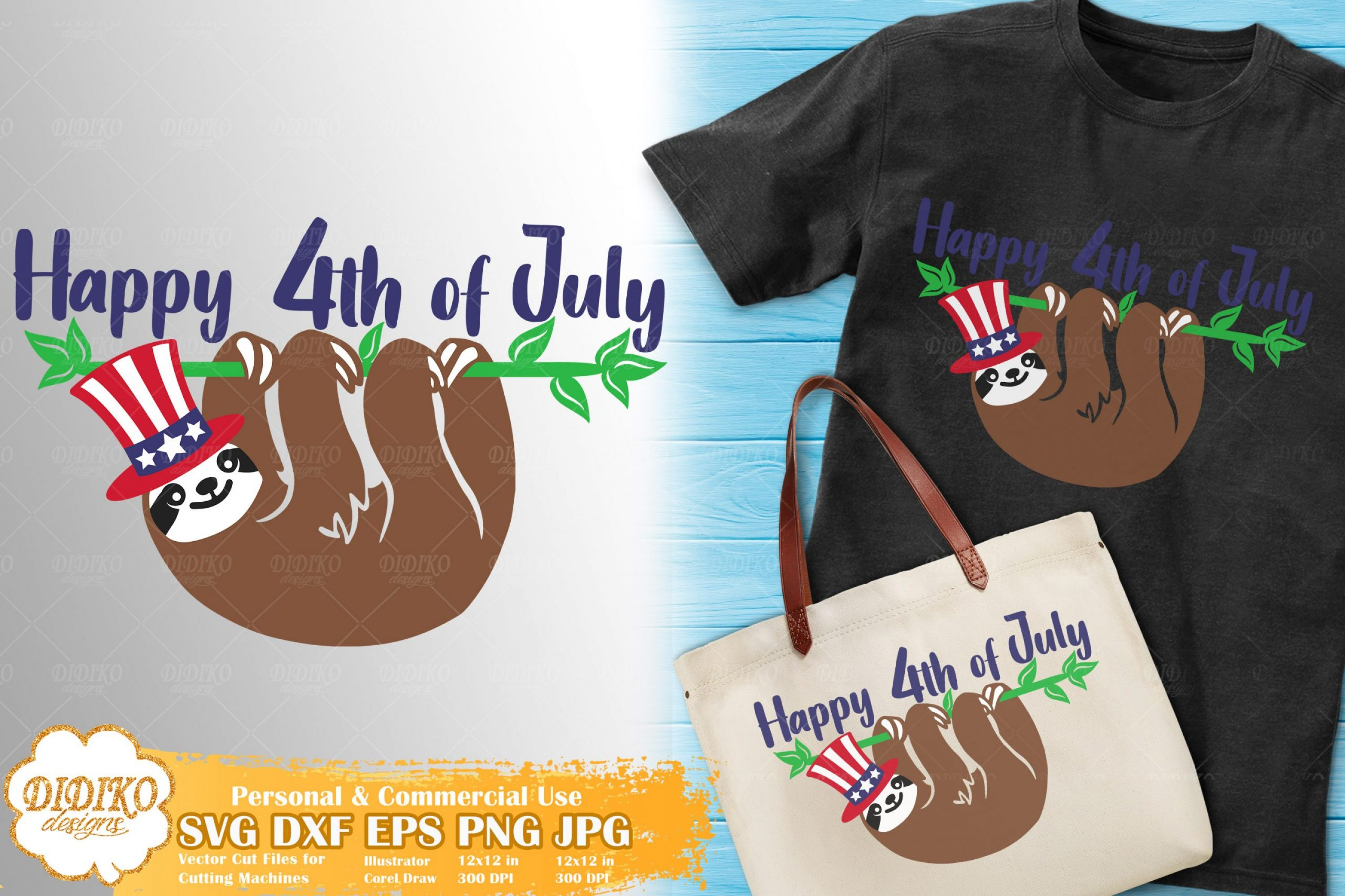 Sloth 4th of July SVG #3 | American Hat SVG Cricut File