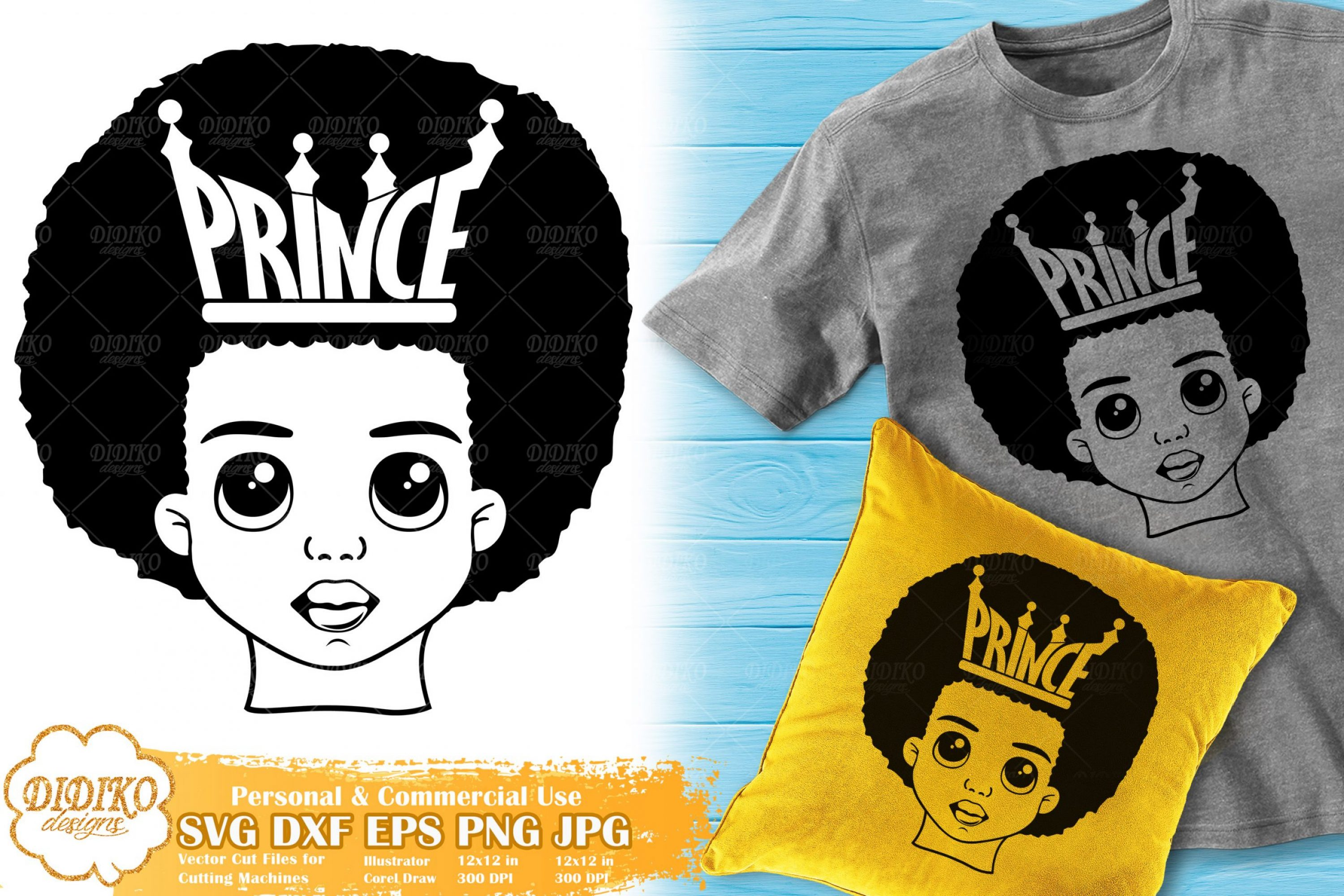 Black Prince SVG #3 | Afro Boy with Crown SVG Cricut