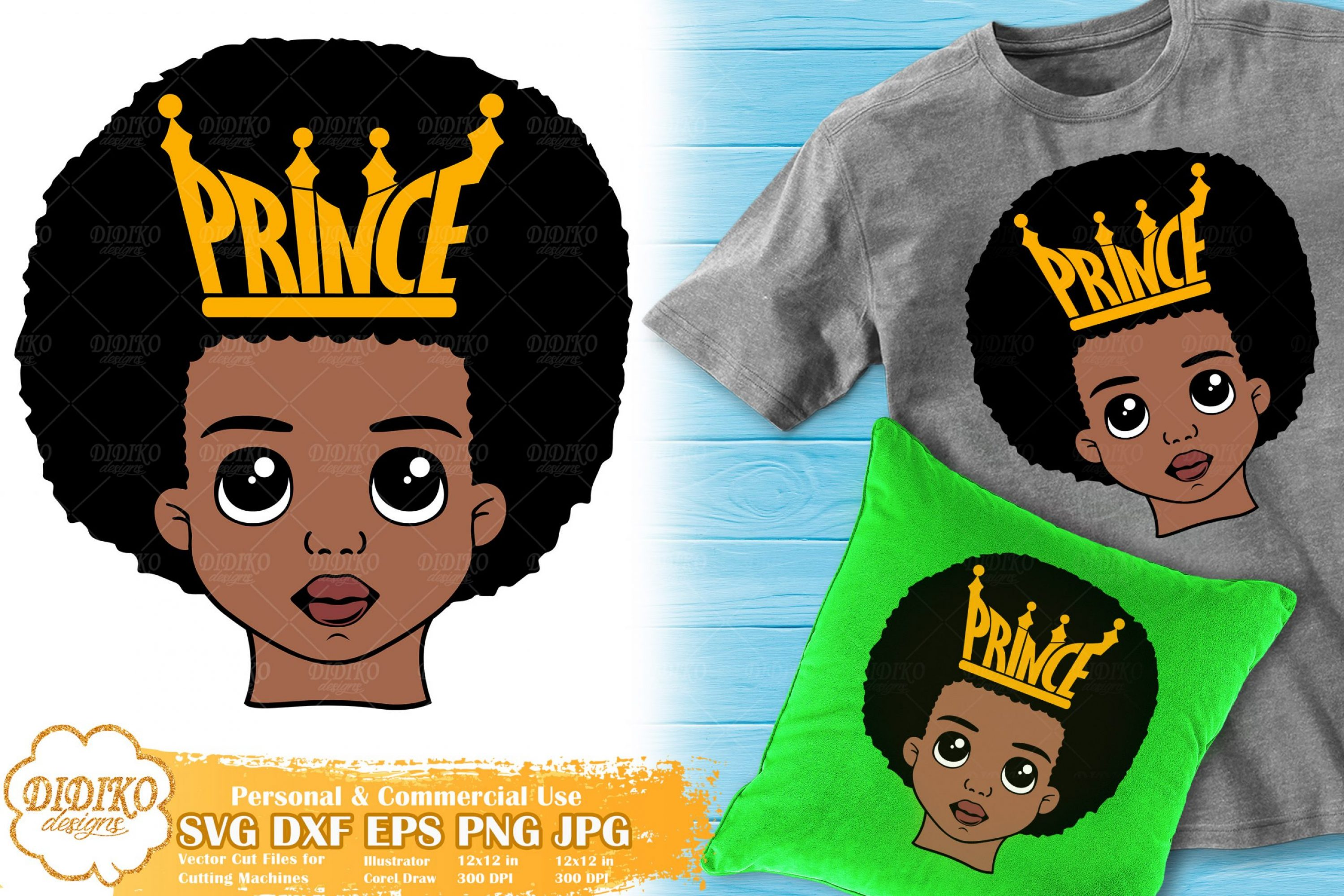 Black Prince SVG #1 | Afro Boy with Crown SVG Cricut