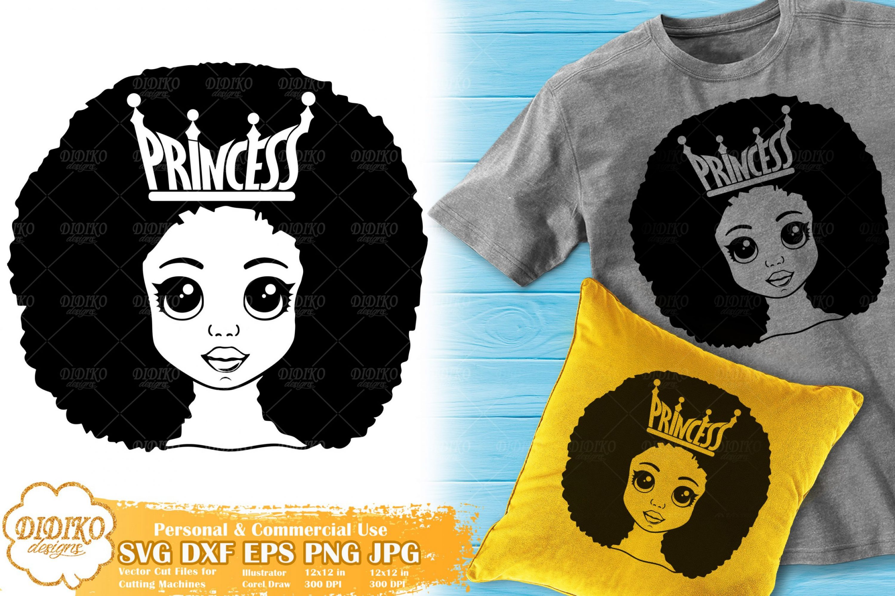 Black Princess SVG #7 | Afro Girl with Crown SVG Cricut