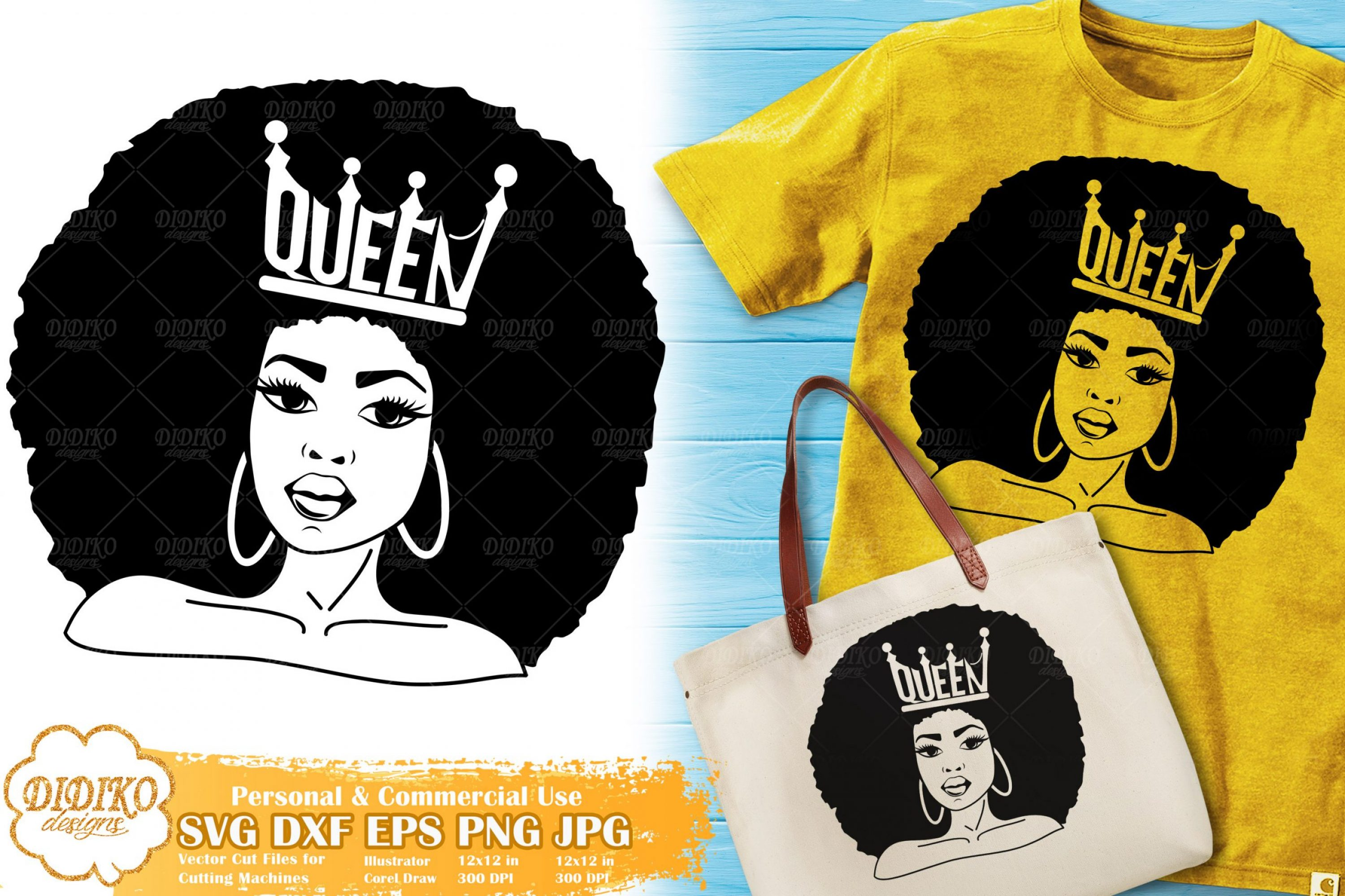 Black Queen SVG #5 | Afro Woman with Crown SVG File
