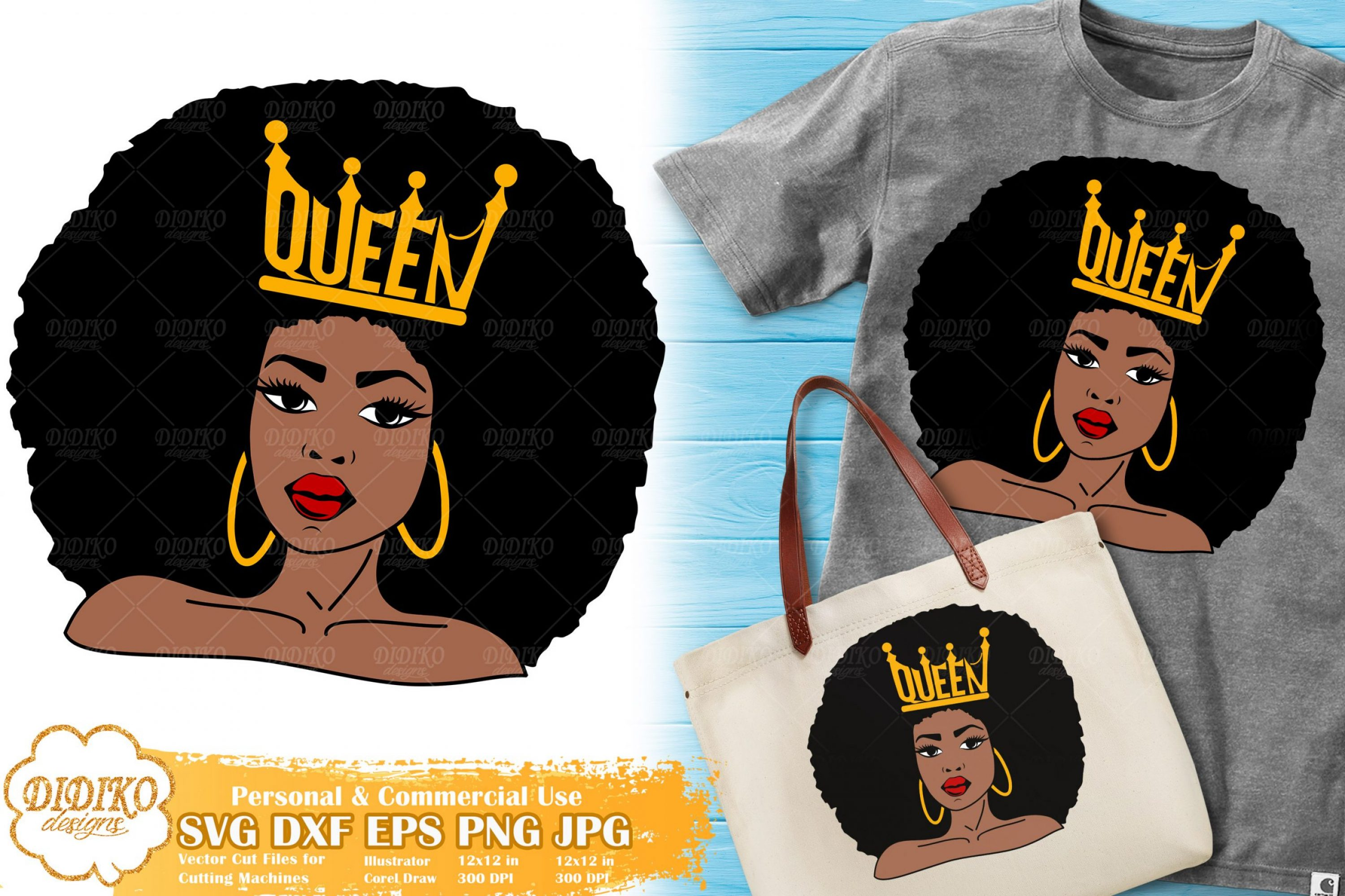 Black Queen SVG #4 | Afro Woman with Crown SVG File