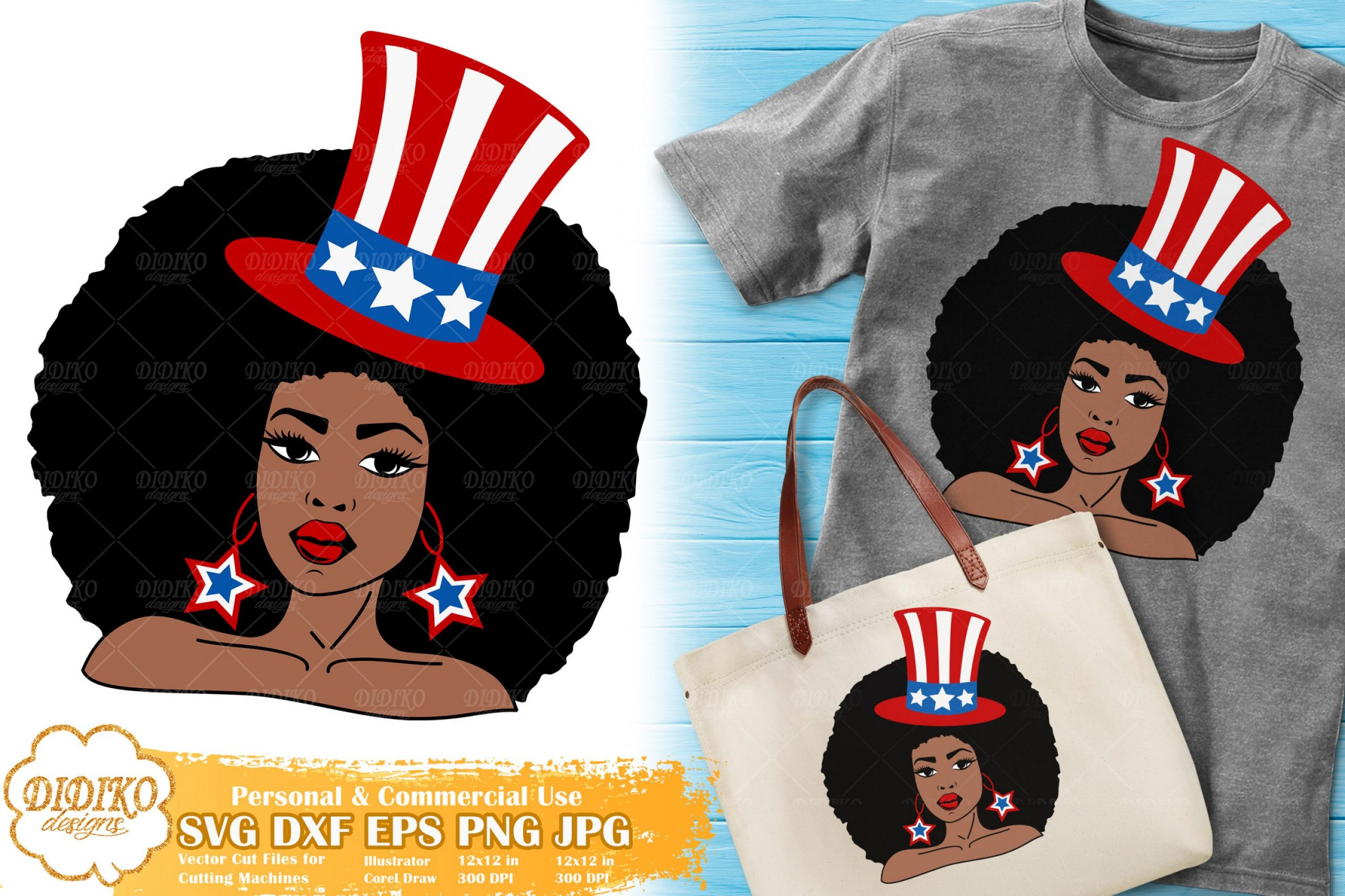 Black Woman 4th of July SVG | American Hat Svg | USA