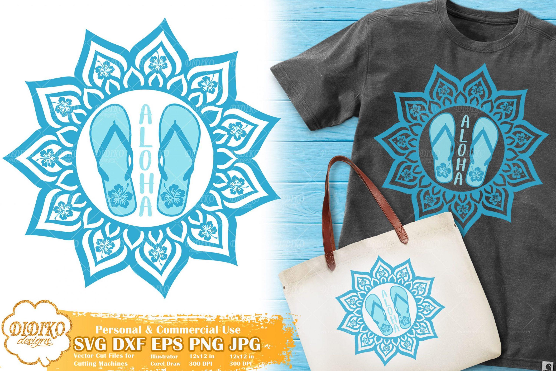 Flip Flops Mandala SVG | Aloha SVG | Hibiscus Svg File
