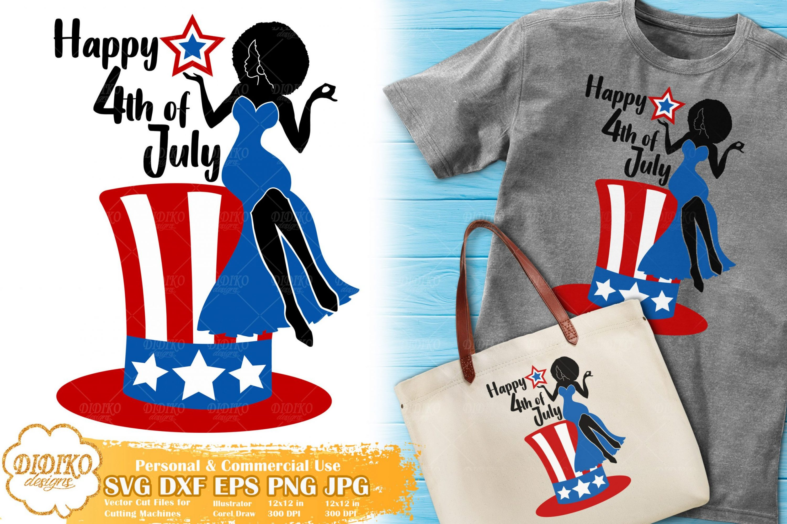 Black Woman 4th of July SVG #2 | American Hat Svg