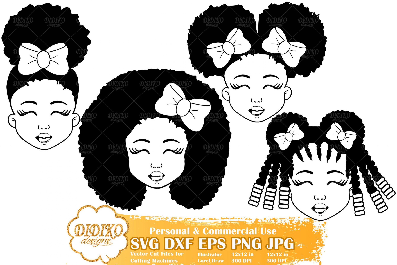 Black Girl SVG Bundle #2 | Afro Girl with Bow SVG File
