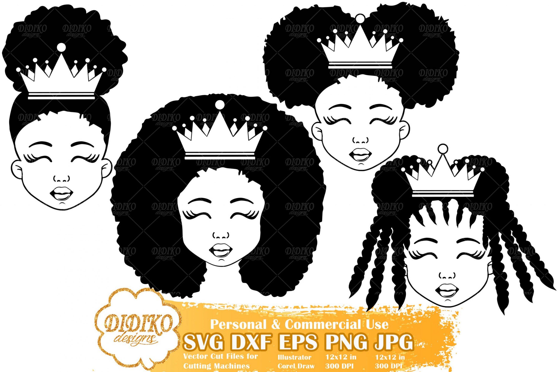 Black Girl SVG Bundle #4 | Black Princess silhouette svg