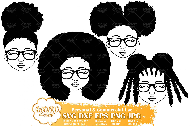 Black Girl SVG Bundle #3 | Afro Girl with Glasses SVG