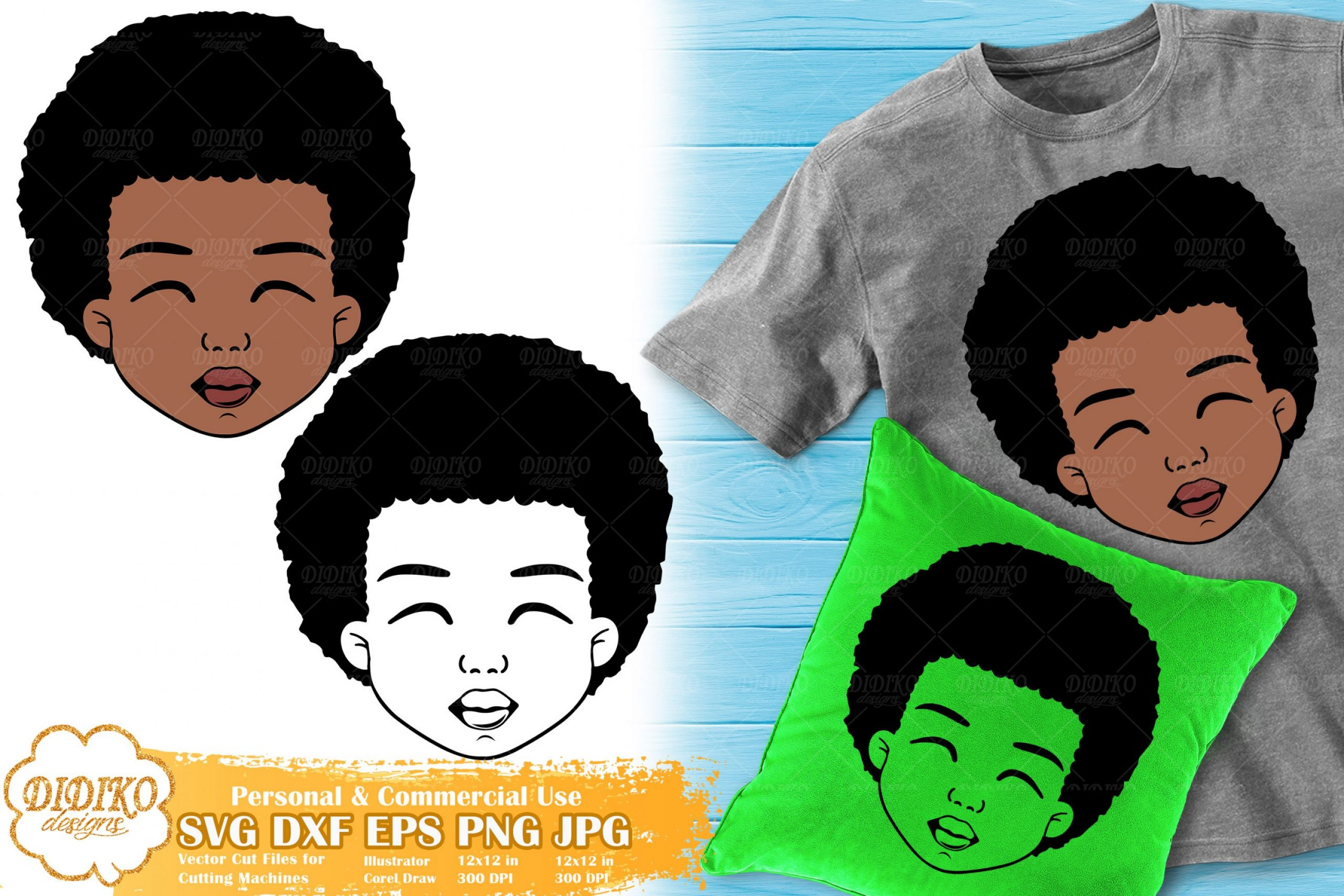 Black Boy SVG #3 | Afro Boy Natural Hair svg| Silhouette