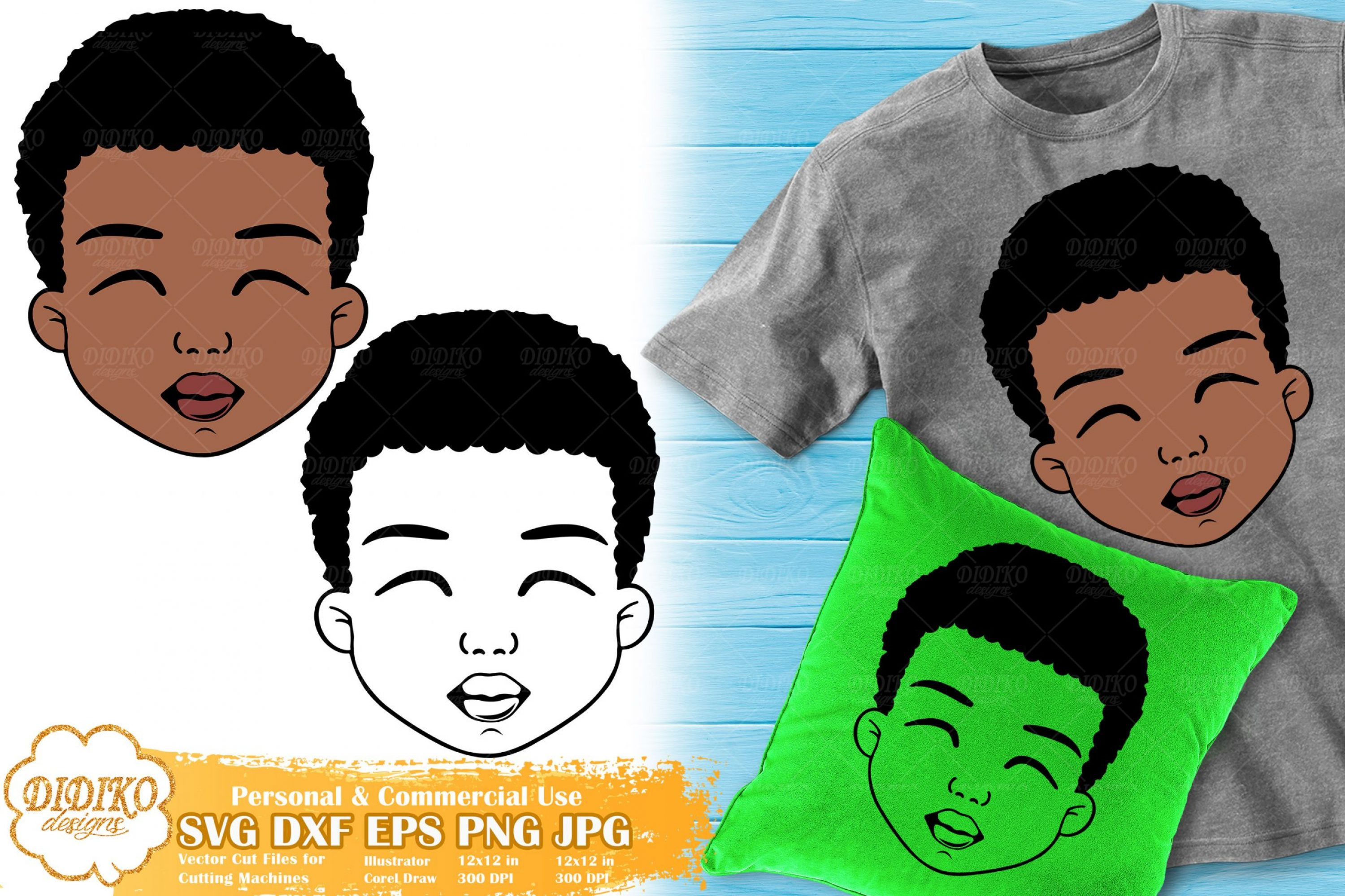 Black Boy SVG #2 | Cute Afro Boy SVG | Silhouette SVG