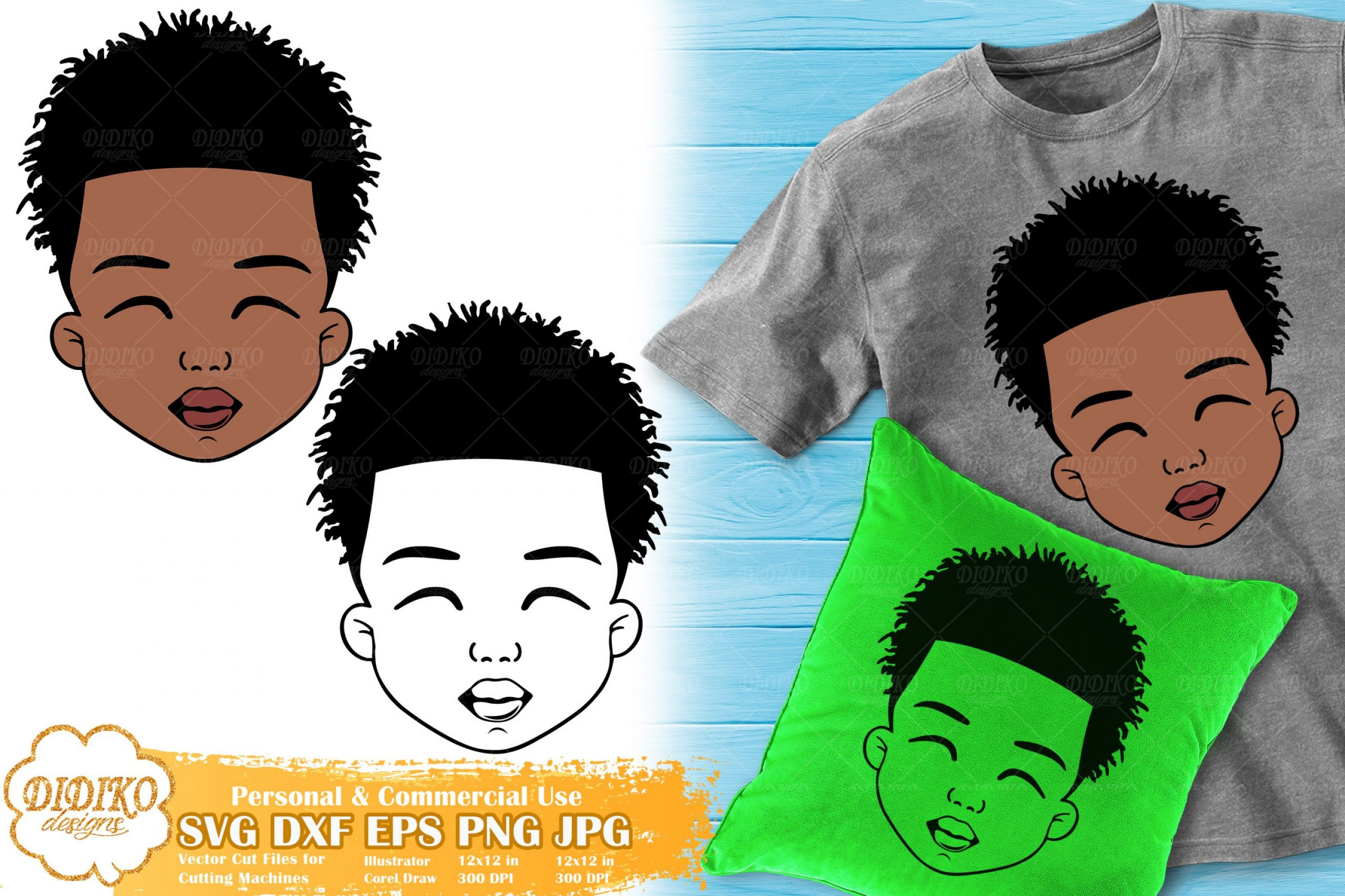 Black Boy SVG #4 | Afro Boy with Dreads Svg | Silhouette