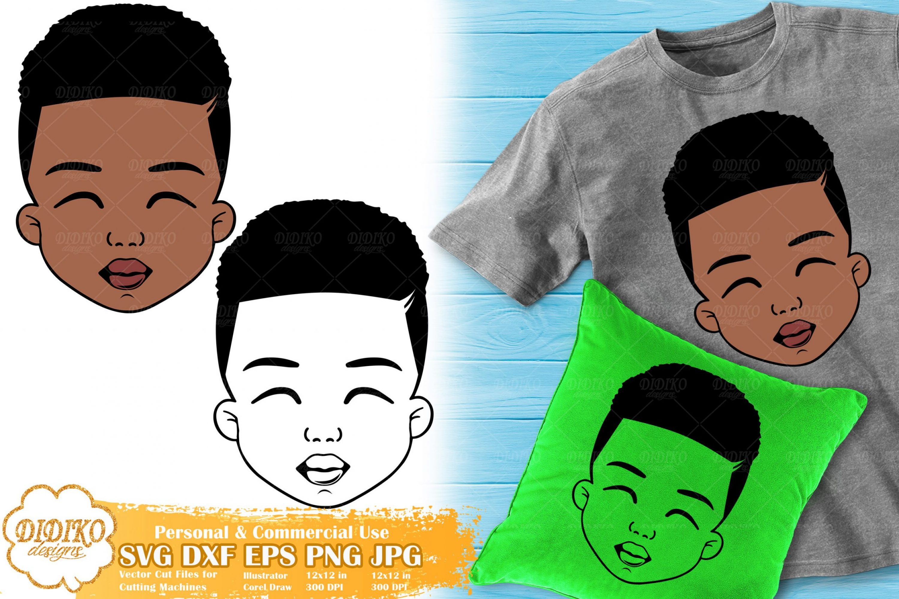 Black Boy SVG #5 | Cute Afro Boy SVG | Silhouette SVG