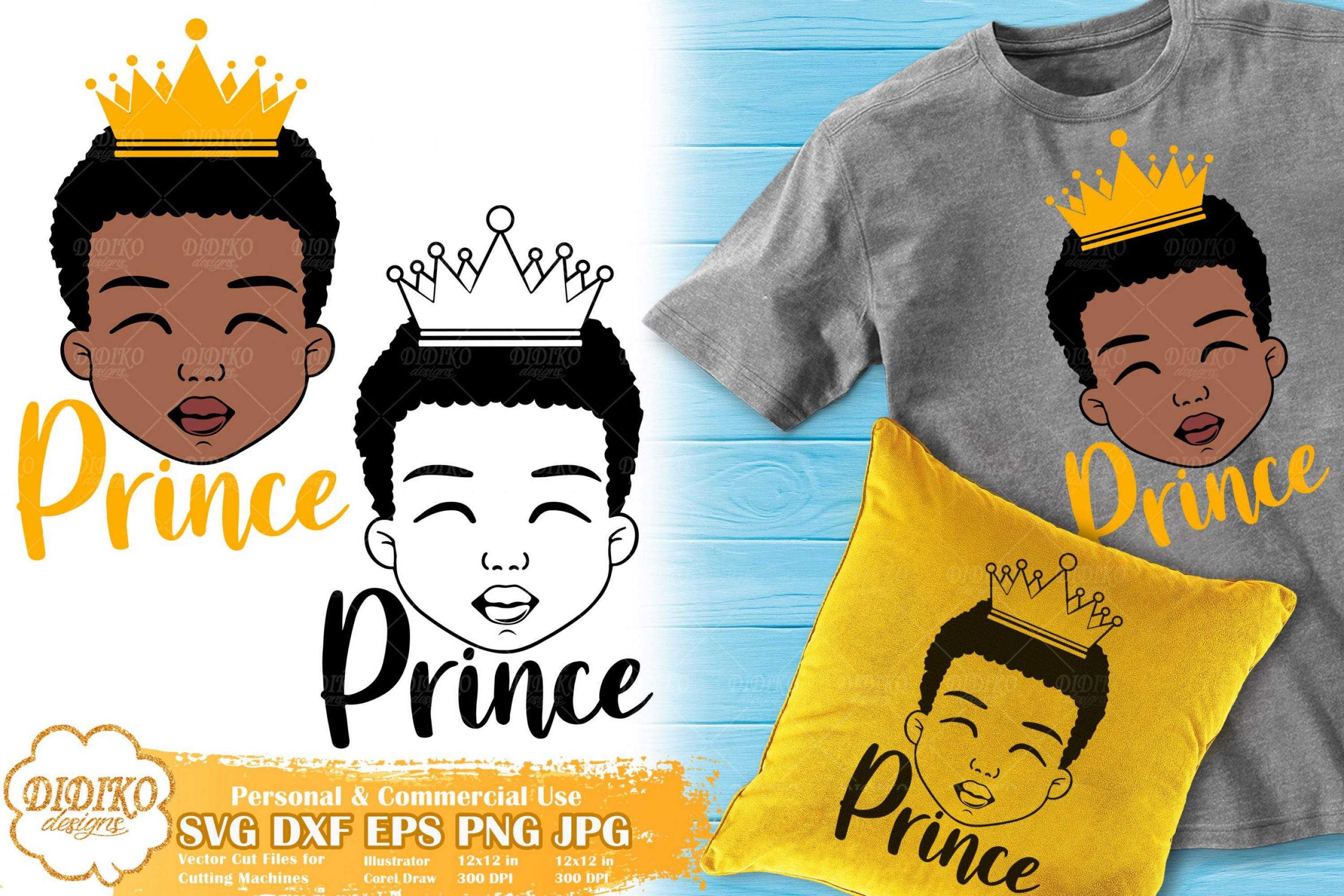 Black Boy Prince SVG #2 | Afro Boy with Crown SVG