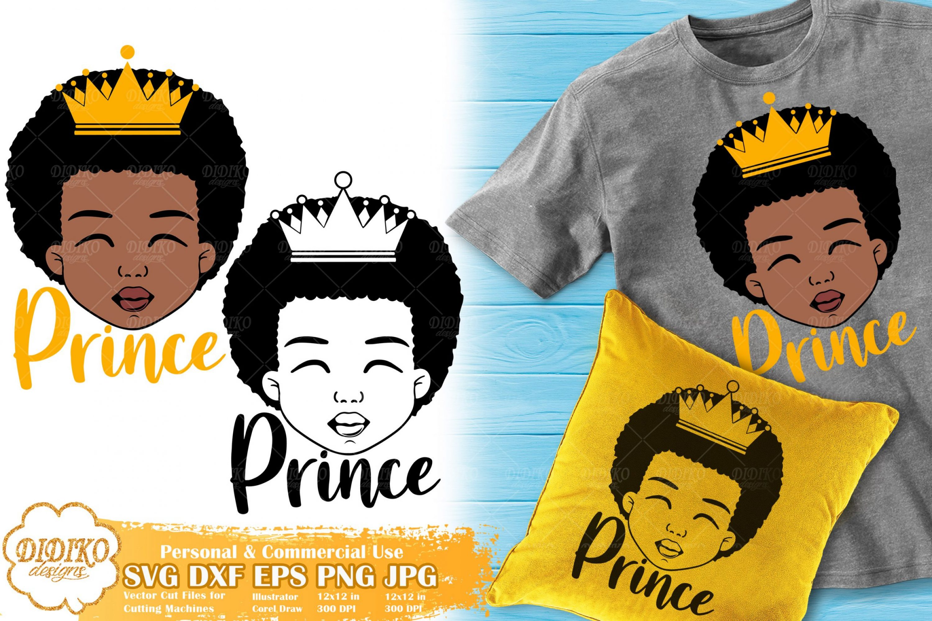 Black Boy Prince SVG #3 | Afro Boy with Crown SVG