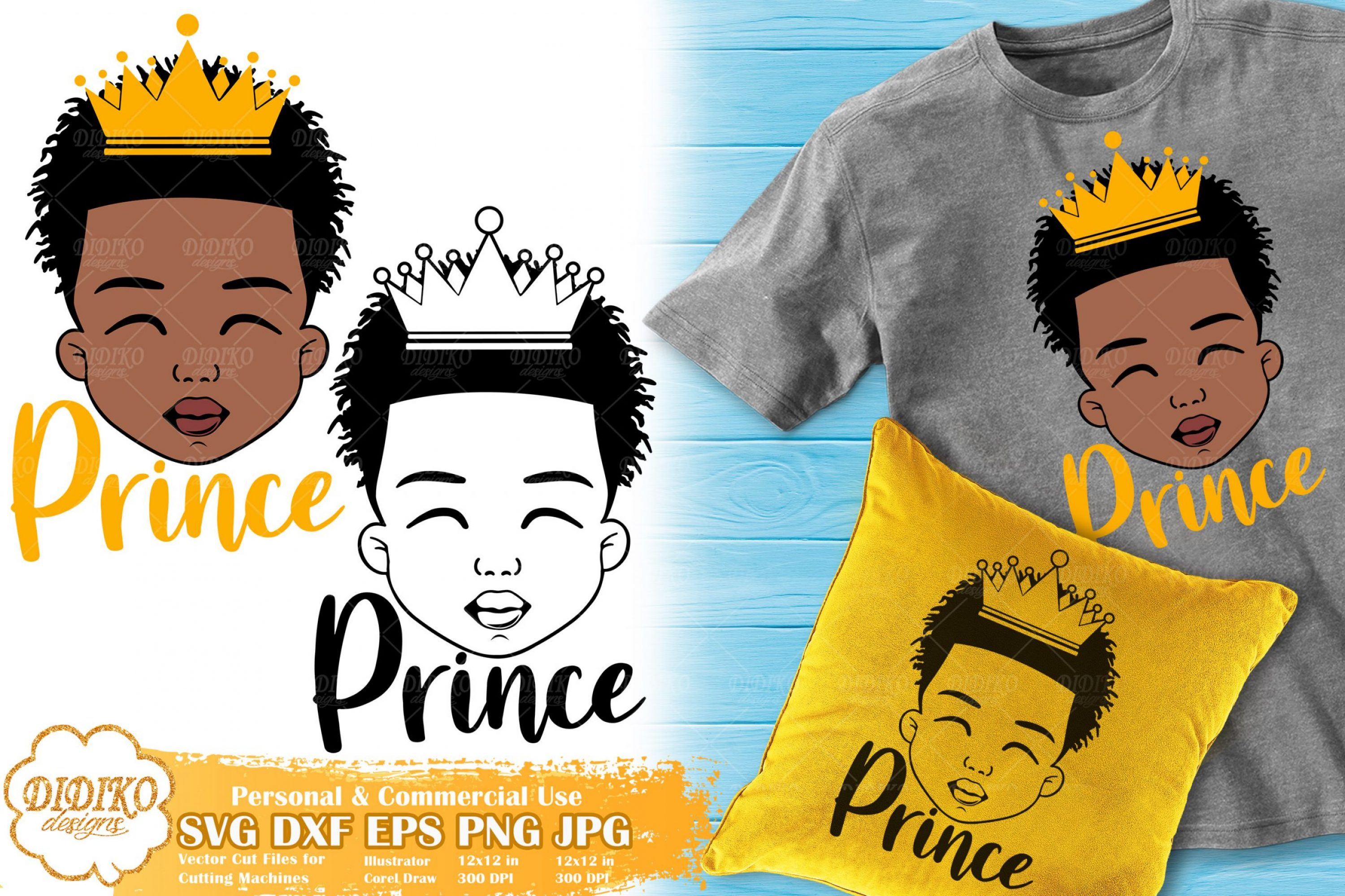 Black Boy Prince SVG #4 | Afro Boy with Crown SVG