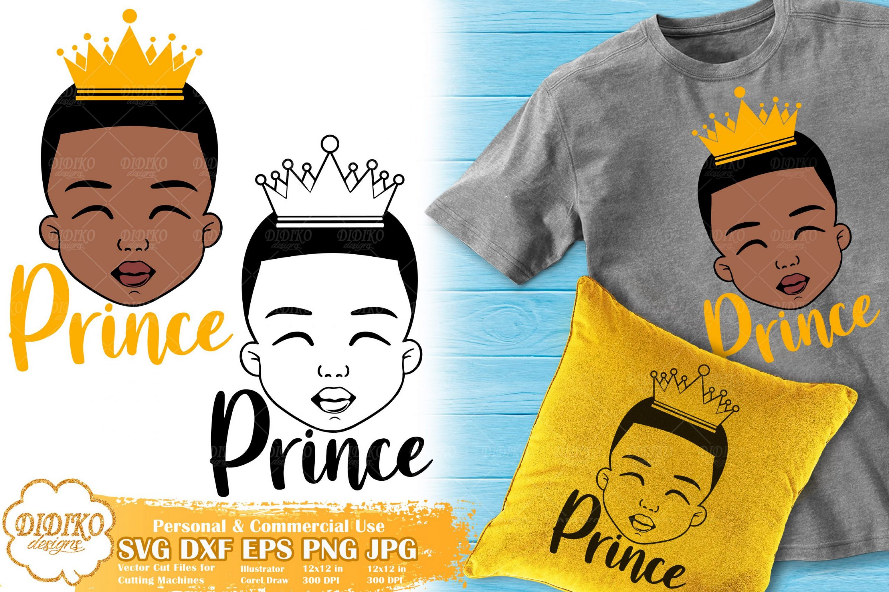 Black Boy Prince SVG #1 | Afro Boy with Crown SVG