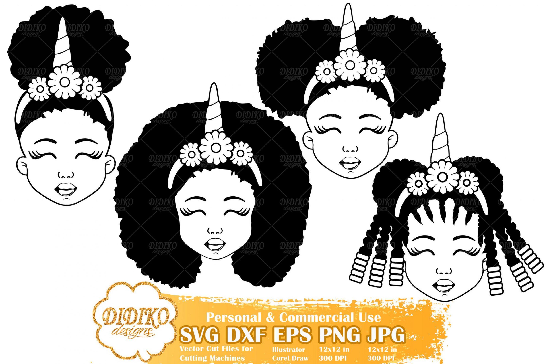 Black Girl SVG Bundle #5 | Afro Girl Unicorn SVG File