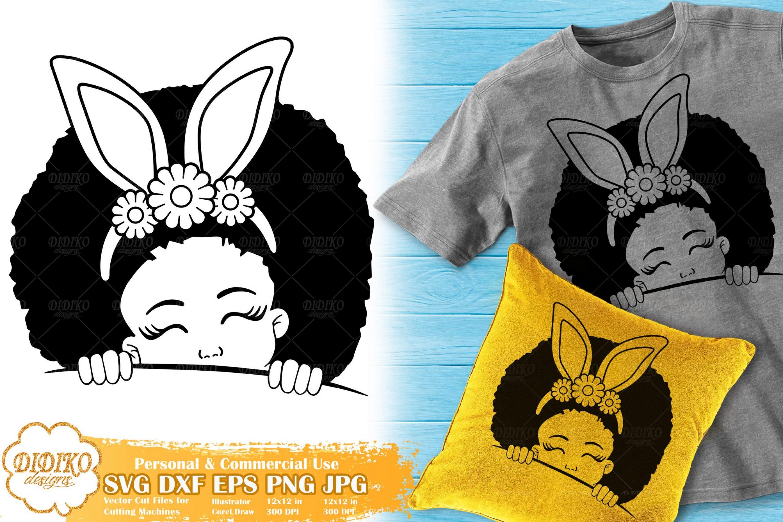 Black Girl Peek a Boo SVG #1 | Easter Afro Girl SVG