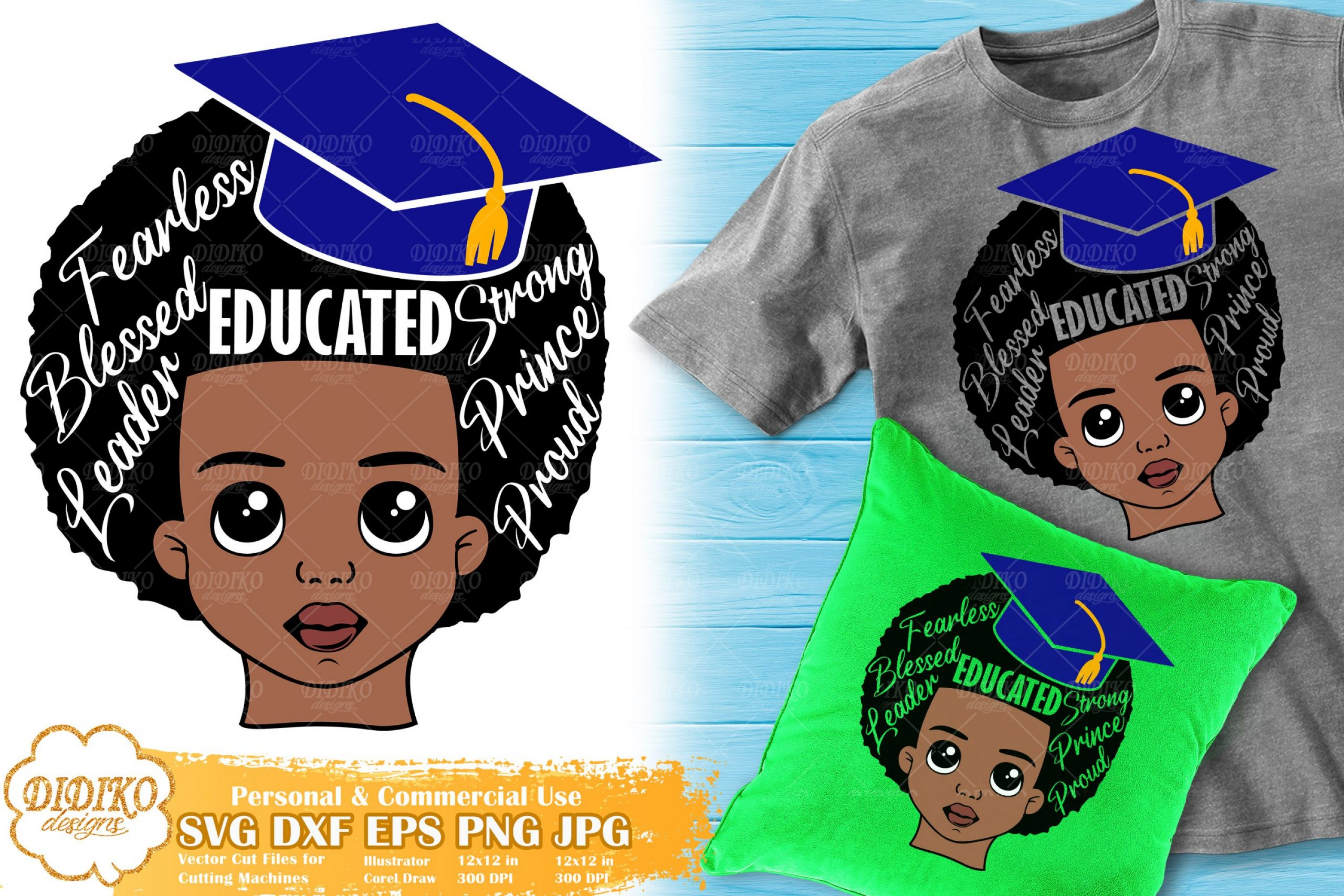 Black Boy with Words SVG #4 | Graduation Afro Boy Svg